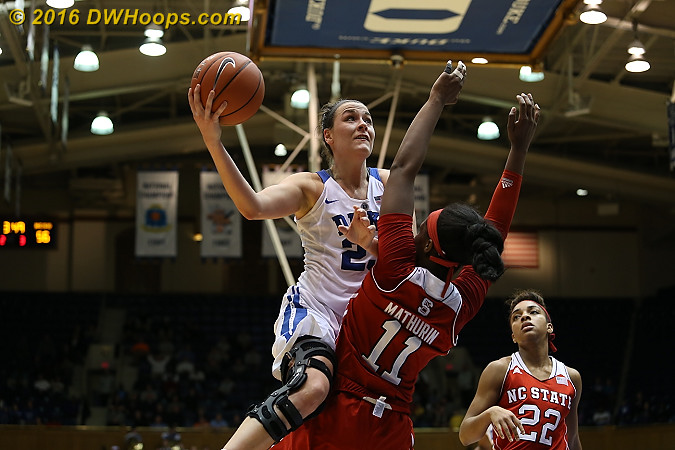 Duke missed a major opportunity to answer an NC State trey as Becca Greenwell missed three free throws (lane violation) after drawing Mathurin's fourth foul  - Duke Tags: #23 Rebecca Greenwell - NCSU Players: #11 Jennifer Mathurin