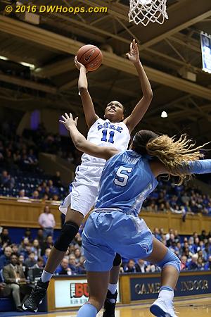 DWHoops Photo  - Duke Tags: #11 Azur� Stevens - UNC Players: #5 Stephanie Watts