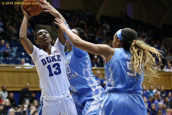 DWHoops Photo  - Duke Tags: #13 Crystal Primm - UNC Players: #30 Hillary Summers, #5 Stephanie Watts