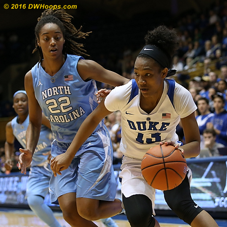DWHoops Photo  - Duke Tags: #13 Crystal Primm - UNC Players: #22 N'Dea Bryant