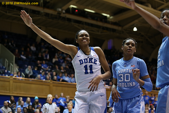 Making the call  - Duke Tags: #11 Azur� Stevens - UNC Players: #30 Hillary Summers
