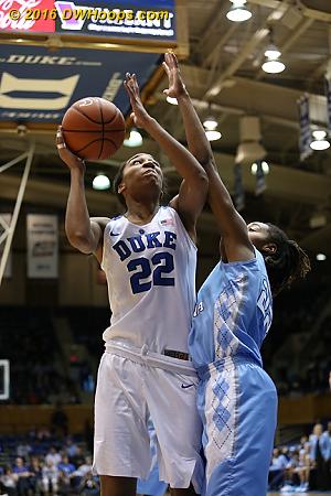 Duke kept feeding the post  - Duke Tags: #22 Oderah Chidom - UNC Players: #22 N'Dea Bryant