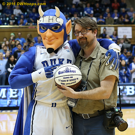 Surprise congrats for Jon Gardiner who is leaving Duke after 14 years to become Chief Photographer at UNC.  We'll miss both his cheerful presence and his fine work.  - Duke Tags: Duke Blue Devil Mascot