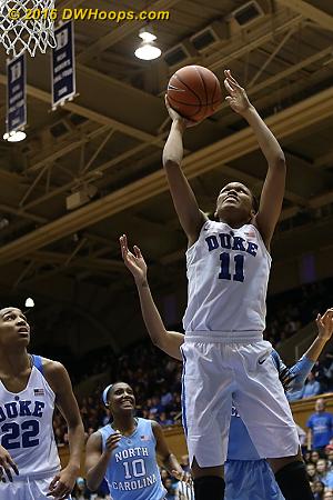 Duke goes up 61-53, quelling a Tar Heel run  - Duke Tags: #11 Azur� Stevens