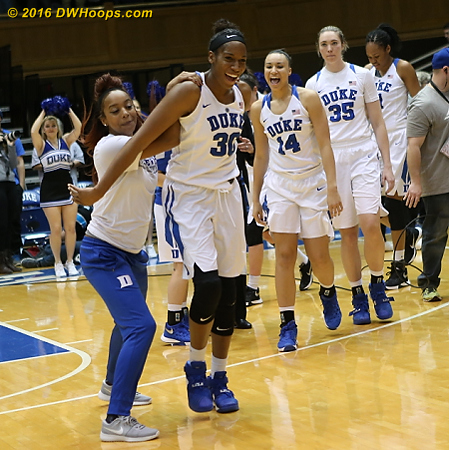 After handshakes were done it was time for Duke to celebrate!  - Duke Tags: #30 Amber Henson, #4 Lexie Brown, #14 Faith Suggs