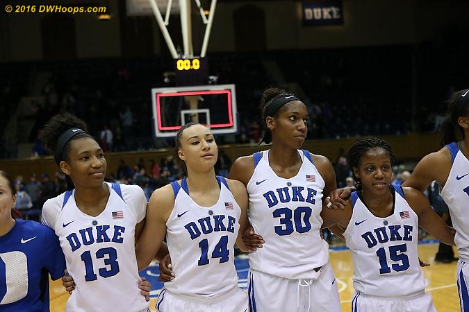 DWHoops Photo  - Duke Tags: #30 Amber Henson, #13 Crystal Primm, #14 Faith Suggs, #15 Kyra Lambert