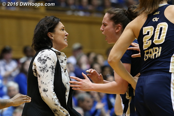 Coach Jo got a chest bump after Tech forced a Duke time out