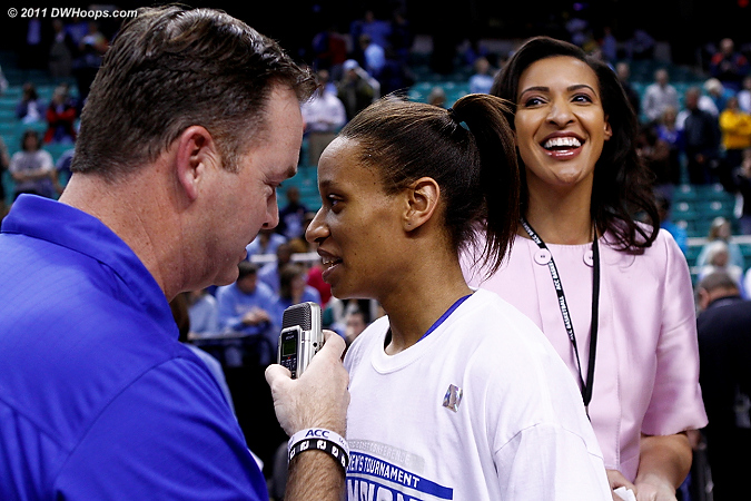 Interview with Morgan Patrick; newly inducted ACC Legend Christy Winters Scott to the right  - Duke Tags: #5 Jasmine Thomas