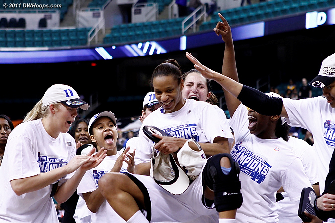 Tournament MVP Jasmine Thomas hoisted high by her teammates  - Duke Tags: #5 Jasmine Thomas