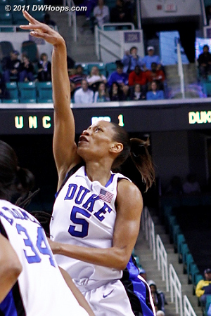 For three!  - Duke Tags: #5 Jasmine Thomas