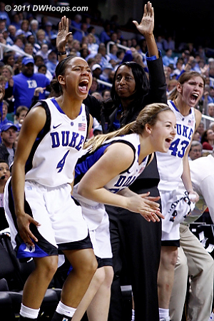 YES  - Duke Tags: Samantha Williams, #43 Allison Vernerey, #32 Tricia Liston, #4 Chloe Wells