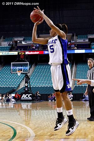 Jasmine Thomas hits a three pointer from the corner  - Duke Tags: #5 Jasmine Thomas