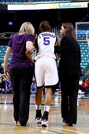 Helped off the floor  - Duke Tags: Joanne P. McCallie, #5 Jasmine Thomas
