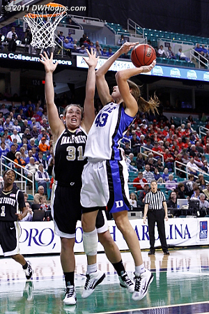 Foul on Wright  - Duke Tags: #43 Allison Vernerey - WF Players: #31 Lindsy Wright