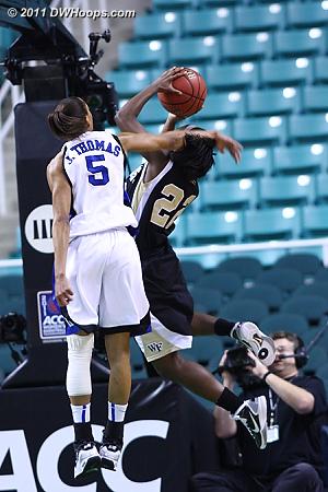 DWHoops Photo  - Duke Tags: #5 Jasmine Thomas - WF Players: #22 Lakevia Boykin