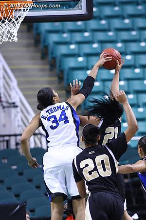 Krystal Thomas fouls Sandra Garcia in the act  - Duke Tags: #34 Krystal Thomas - WF Players: #21 Sandra Garcia