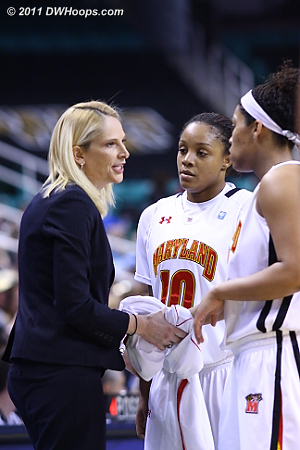 Coach Frese with some words  - MD Players: #10 Anjale Barrett