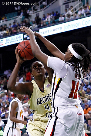 DWHoops Photo  - MD Players: #12 Lynetta Kizer - GT Tags: #45 Sasha Goodlett
