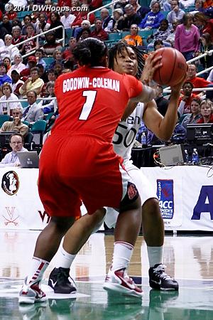 Reach-in  - NCSU Players: #1 Myisha Goodwin-Coleman - MIA Tags: #50 Maria Brown