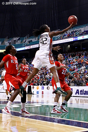 ACC Player of the Year Shenise Johnson will face other superstars if Miami advances.