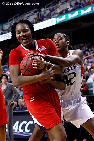 DWHoops Photo  - NCSU Players: #22 Bonae Holston - MIA Tags: #42 Shenise Johnson