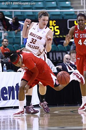 Who, me?  Foul on Murphy.  - BC Players: #32 Stefanie Murphy - NCSU Tags: #00 Amber White, #44 Kody Burke