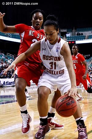 NCSU press giving BC fits  - BC Players: #31 Tiffany Ruffin - NCSU Tags: #22 Bonae Holston