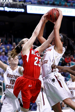 Foul on Kastanek  - BC Players: #21 Kristen Doherty - NCSU Tags: #23 Marissa Kastanek