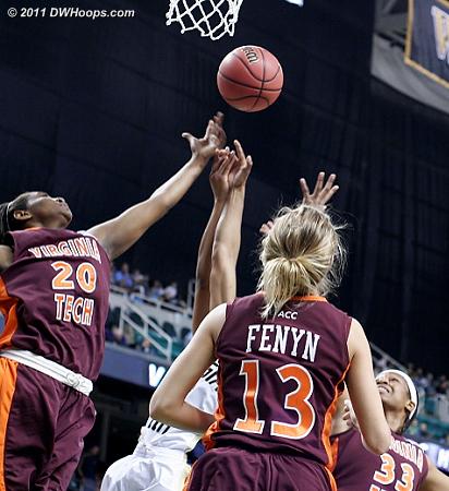 DWHoops Photo  - VT Players: #13 Alyssa Fenyn, #20 Nia Evans, #33 Shanel Harrison
