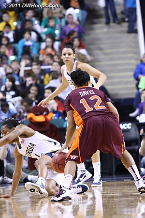 Faked onto the floor!  - VT Players: #12 Nikki Davis - GT Tags: #1 Dawnn Maye