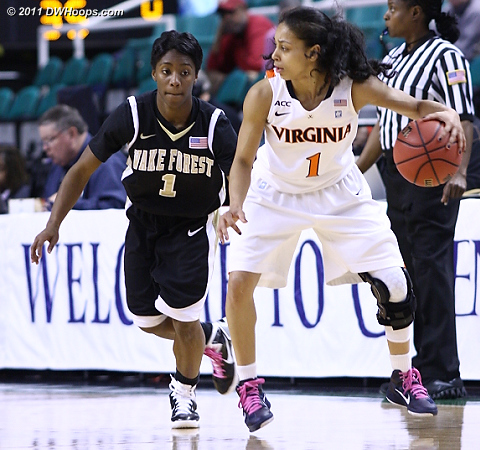 These two battled the whole game  - UVA Players: #1 China Crosby - WF Tags: #1 Brooke Thomas