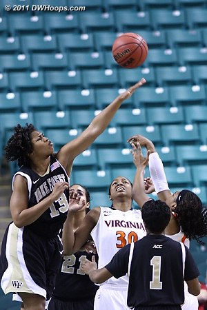 DWHoops Photo  - UVA Players: #30 Telia McCall - WF Tags: #13 Mykala Walker