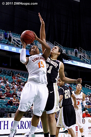 Garcia gets foul #5 at the 1:22 mark, Wake up 67-60.  - UVA Players: #15 Ariana Moorer - WF Tags: #21 Sandra Garcia
