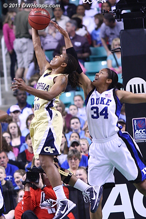 Another block by Krystal  - Duke Tags: #34 Krystal Thomas - GT Players: #23 Deja Foster