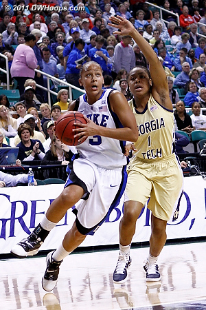 DWHoops Photo  - Duke Tags: #3 Shay Selby - GT Players: #1 Dawnn Maye