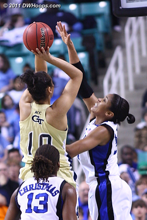 Krystal forces a miss  - Duke Tags: #34 Krystal Thomas - GT Players: #10 Danielle Hamilton-Carter