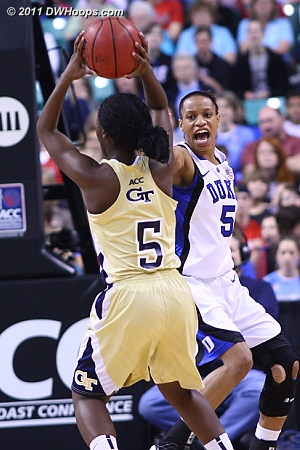 DWHoops Photo  - Duke Tags: #5 Jasmine Thomas - GT Players: #5 Metra Walthour