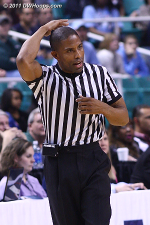 Eric Brewton calls a shot clock violation on Tech