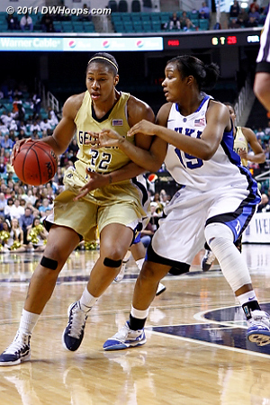 DWHoops Photo  - Duke Tags: #15 Richa Jackson - GT Players: #22 Alex Montgomery