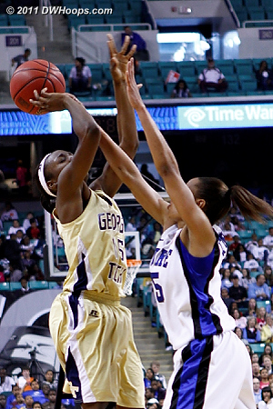 Foul by Jasmine  - Duke Tags: #5 Jasmine Thomas - GT Players: #15 Tyaunna Marshall