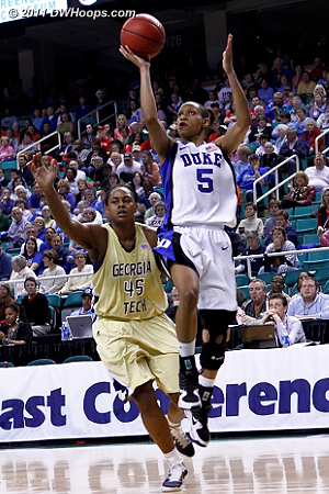 DWHoops Photo  - Duke Tags: #5 Jasmine Thomas - GT Players: #45 Sasha Goodlett