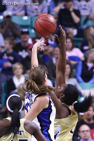 After the block  - Duke Tags: #43 Allison Vernerey - GT Players: #45 Sasha Goodlett