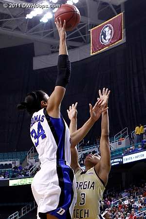 DWHoops Photo  - Duke Tags: #34 Krystal Thomas - GT Players: #23 Deja Foster