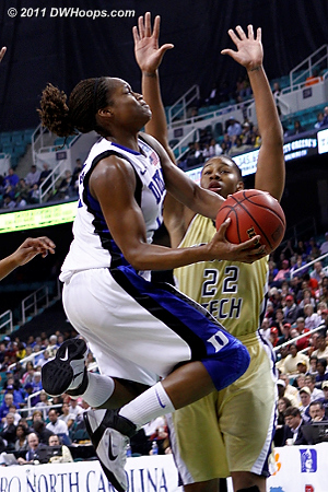 DWHoops Photo  - Duke Tags: #13 Karima Christmas - GT Players: #22 Alex Montgomery