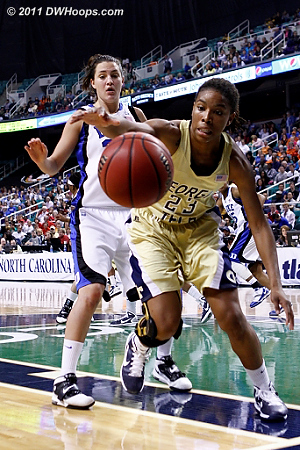 DWHoops Photo  - Duke Tags: #33 Haley Peters - GT Players: #23 Deja Foster