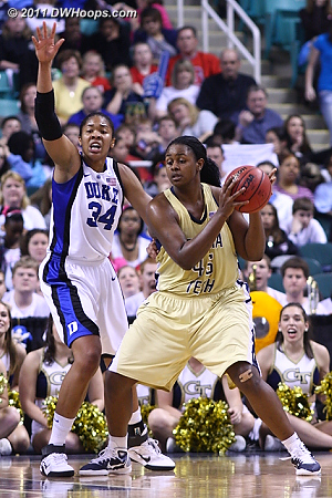 DWHoops Photo  - Duke Tags: #34 Krystal Thomas - GT Players: #45 Sasha Goodlett