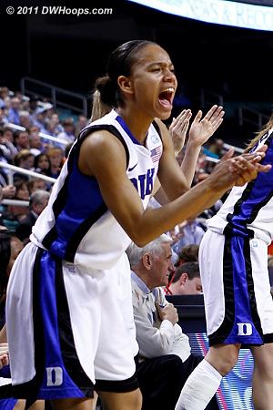 Chloe Wells cheers her teammates on  - Duke Tags: #4 Chloe Wells