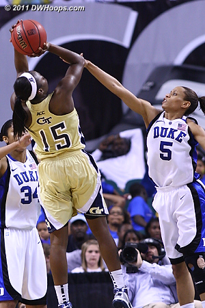 DWHoops Photo  - Duke Tags: #5 Jasmine Thomas - GT Players: #15 Tyaunna Marshall