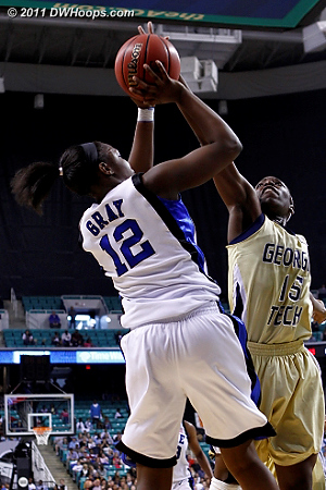 Chelsea gets stuffed with two minutes left, Duke up by five  - Duke Tags: #12 Chelsea Gray - GT Players: #15 Tyaunna Marshall