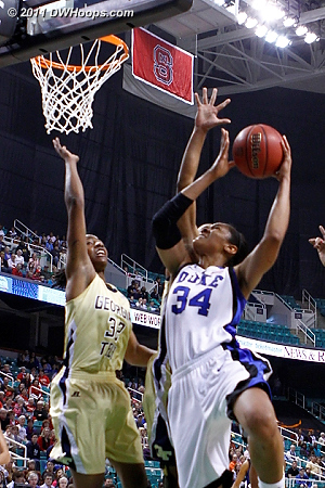 Krystal scores on the break, and one  - Duke Tags: #34 Krystal Thomas - GT Players: #32 Chelsea Regins